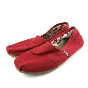 Toms Classic Canvas Red Slip On Shoes